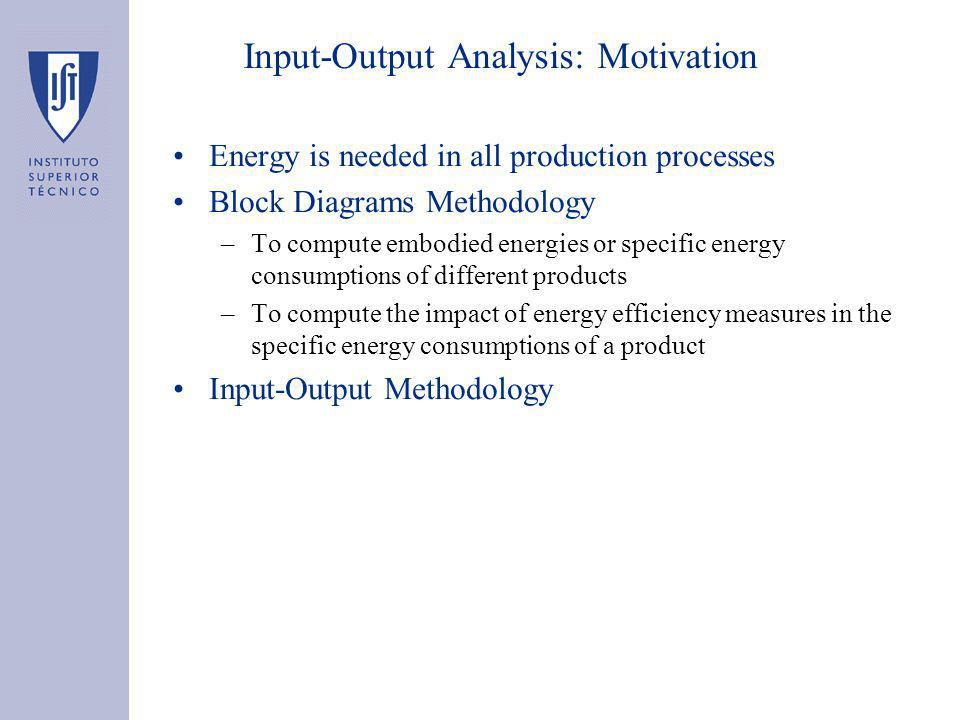 Input-Output Analysis: Motivation Energy is needed in all production processes Block Diagrams Methodology –To compute embodied energies or specific energy consumptions of different products –To compute the impact of energy efficiency measures in the specific energy consumptions of a product Input-Output Methodology