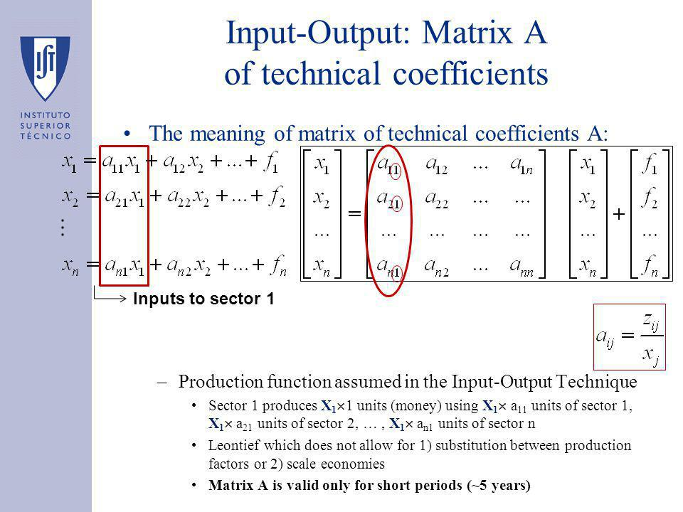 Input-Output: Matrix A of technical coefficients The meaning of matrix of technical coefficients A: –Production function assumed in the Input-Output Technique Sector 1 produces X 1  1 units (money) using X 1  a 11 units of sector 1, X 1  a 21 units of sector 2, …, X 1  a n1 units of sector n Leontief which does not allow for 1) substitution between production factors or 2) scale economies Matrix A is valid only for short periods (~5 years) Inputs to sector 1