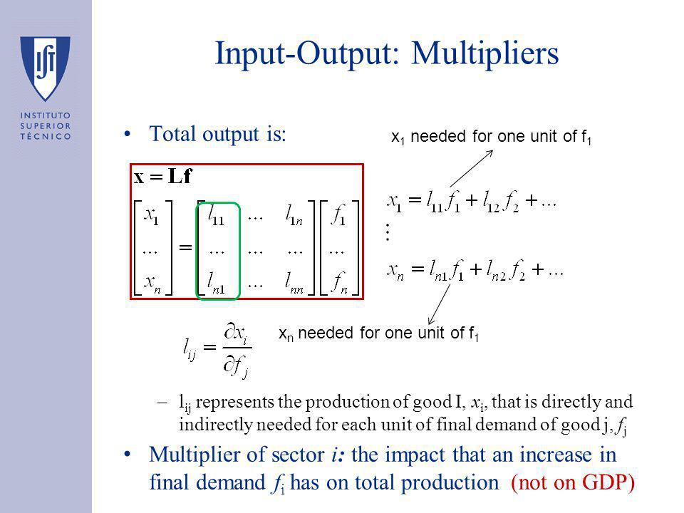 Input-Output: Multipliers Total output is: –l ij represents the production of good I, x i, that is directly and indirectly needed for each unit of final demand of good j, f j Multiplier of sector i: the impact that an increase in final demand f i has on total production (not on GDP) x 1 needed for one unit of f 1 x n needed for one unit of f 1