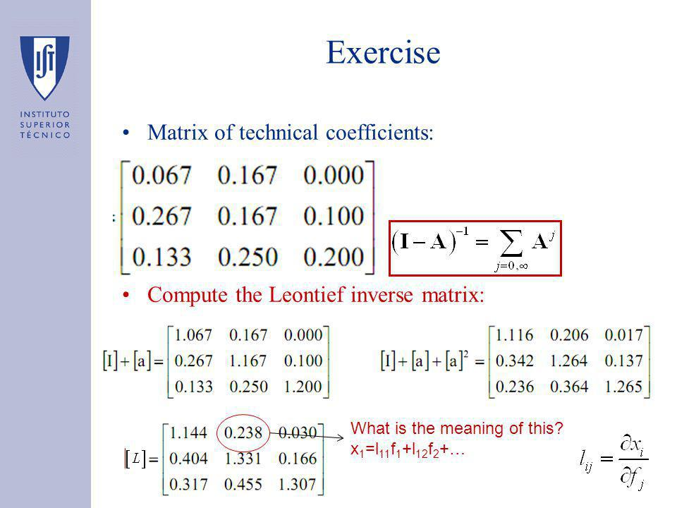 Exercise Matrix of technical coefficients: Compute the Leontief inverse matrix: What is the meaning of this.