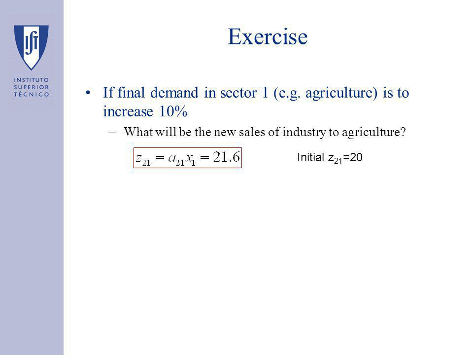 Exercise If final demand in sector 1 (e.g.
