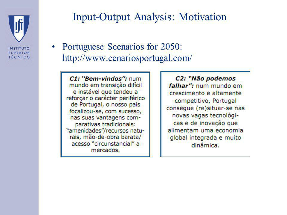 Input-Output Analysis: Motivation Portuguese Scenarios for 2050: http://www.cenariosportugal.com/