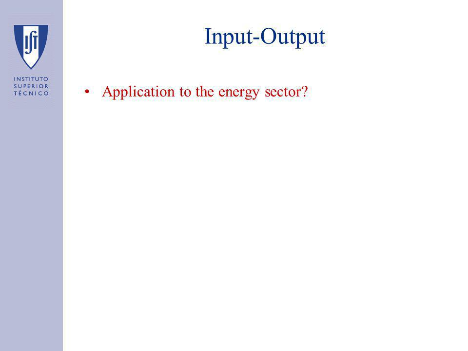Input-Output Application to the energy sector