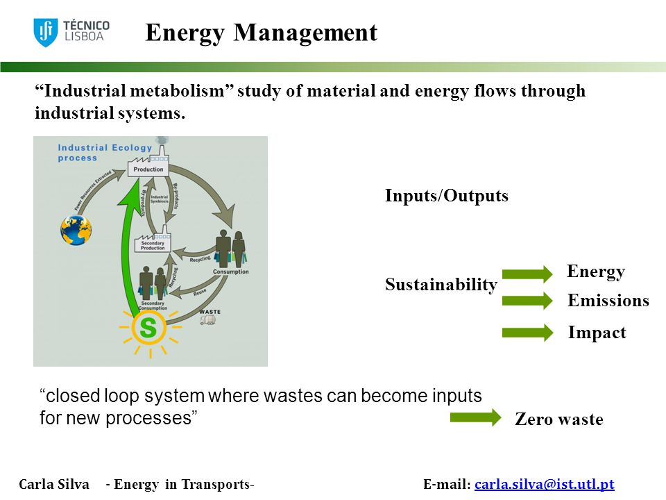 Carla Silva - Energy in Transports- E-mail: carla.silva@ist.utl.ptcarla.silva@ist.utl.pt Energy Management Inputs/Outputs Sustainability closed loop system where wastes can become inputs for new processes Industrial metabolism study of material and energy flows through industrial systems.