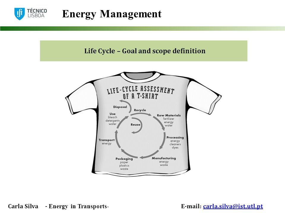 Carla Silva - Energy in Transports- E-mail: carla.silva@ist.utl.ptcarla.silva@ist.utl.pt Energy Management Life Cycle – Goal and scope definition