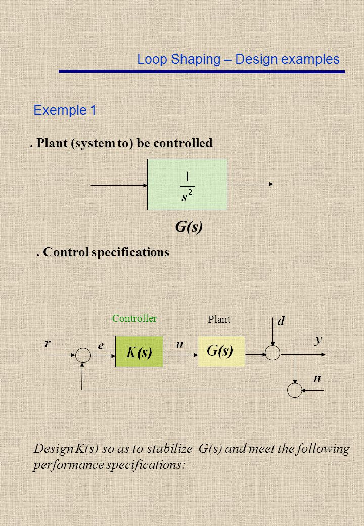 Loop Shaping – Design examples Exemple 1 G(s). Plant (system to) be controlled. Control specifications _ Controller Plant Design K(s) so as to stabili