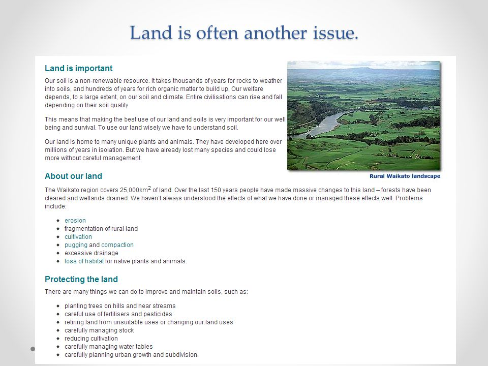 Land is often another issue.