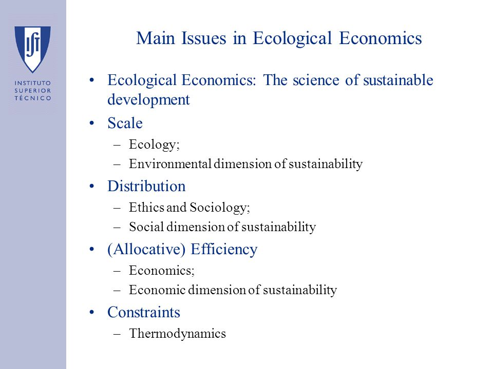 Main Issues in Ecological Economics Ecological Economics: The science of sustainable development Scale –Ecology; –Environmental dimension of sustainability Distribution –Ethics and Sociology; –Social dimension of sustainability (Allocative) Efficiency –Economics; –Economic dimension of sustainability Constraints –Thermodynamics