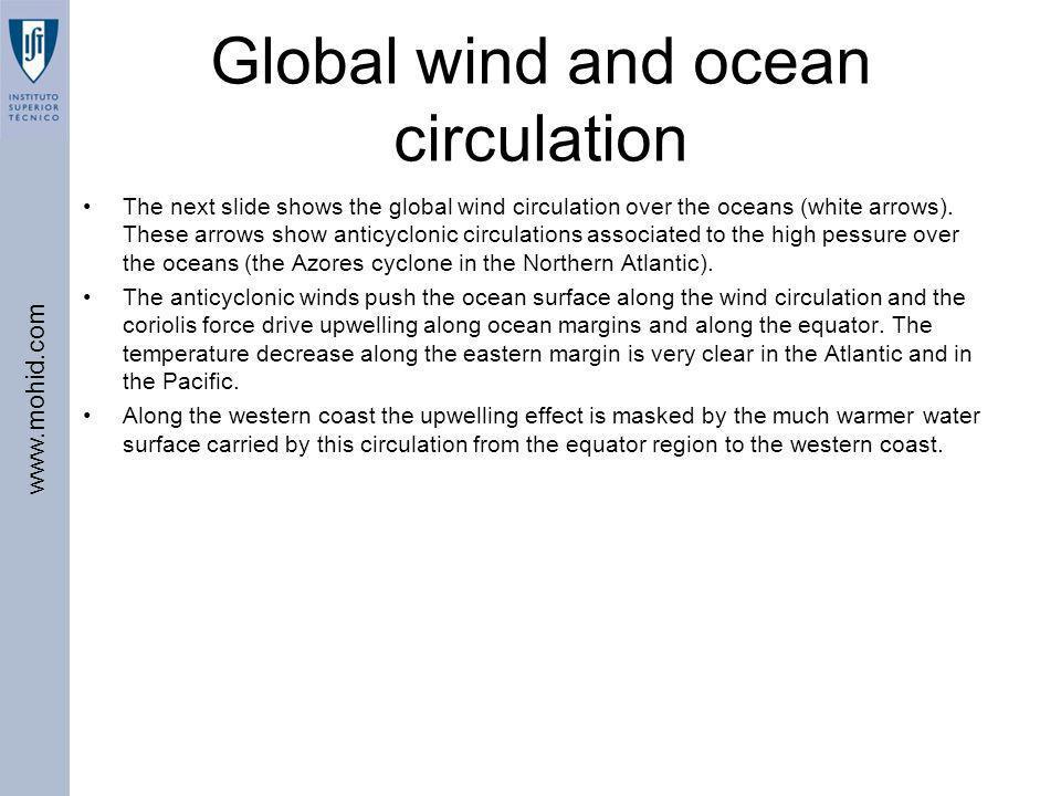 www.mohid.com Global wind and ocean circulation The next slide shows the global wind circulation over the oceans (white arrows). These arrows show ant
