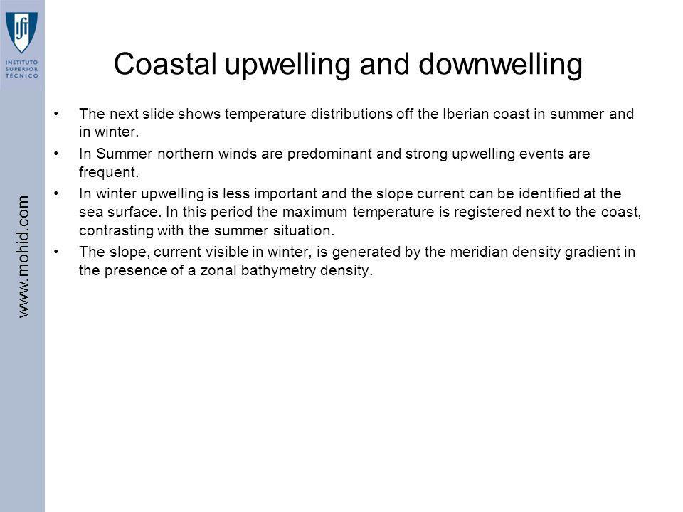 www.mohid.com Coastal upwelling and downwelling The next slide shows temperature distributions off the Iberian coast in summer and in winter. In Summe
