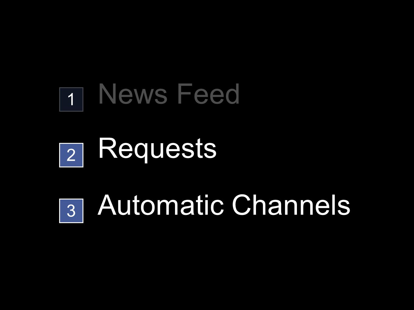 Automatic Channels 1 2 3 News Feed Requests