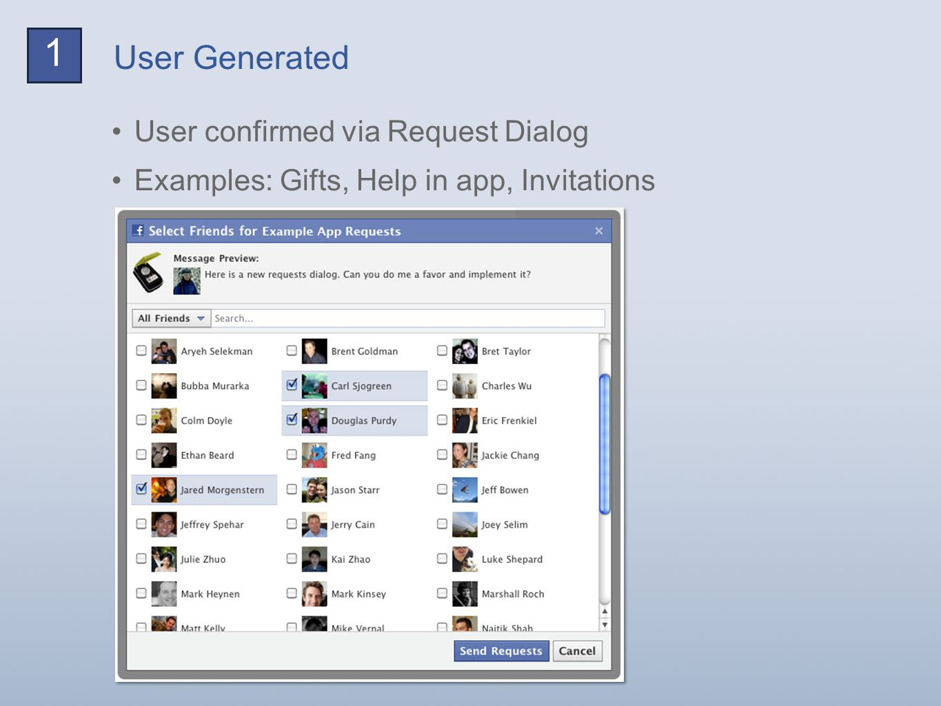User Generated 1 User confirmed via Request Dialog Examples: Gifts, Help in app, Invitations