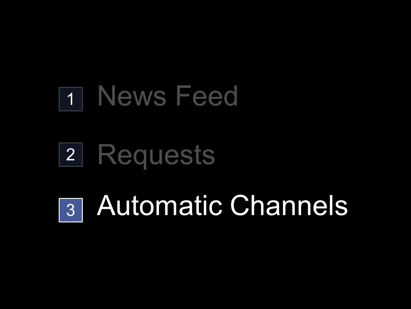 1 2 3 News Feed Requests Automatic Channels