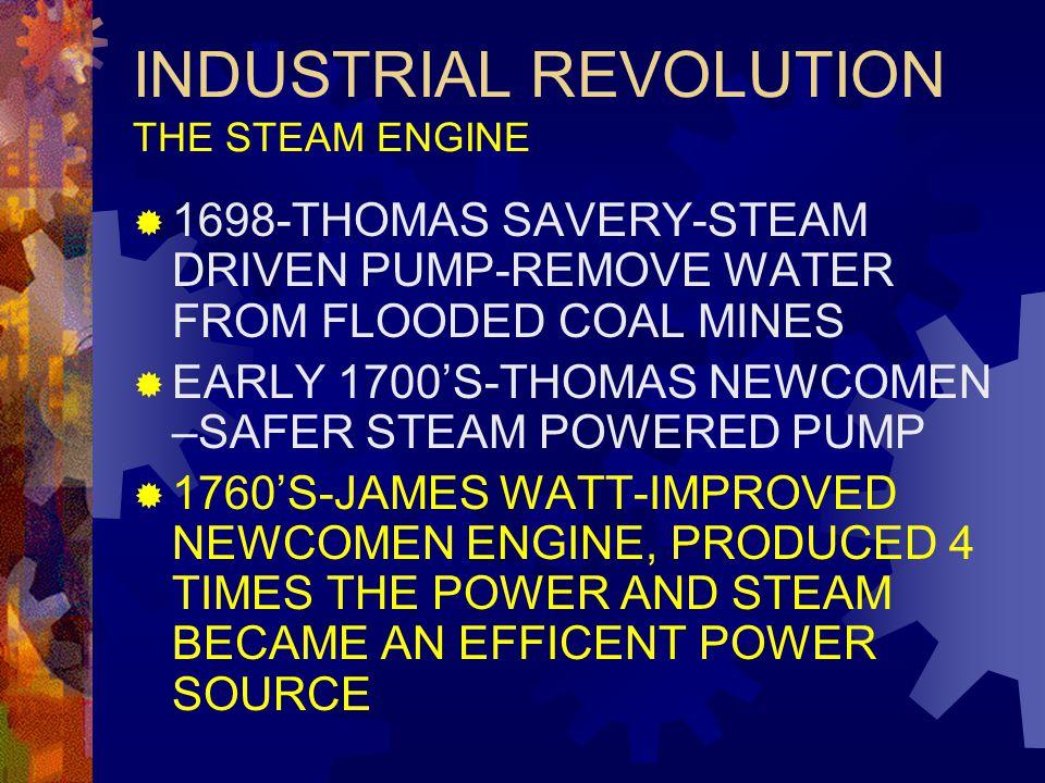 INDUSTRIAL REVOLUTION THE STEAM ENGINE