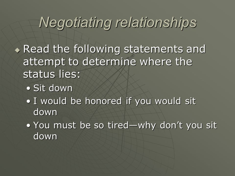 Negotiating relationships  Read the following statements and attempt to determine where the status lies: Sit downSit down I would be honored if you w
