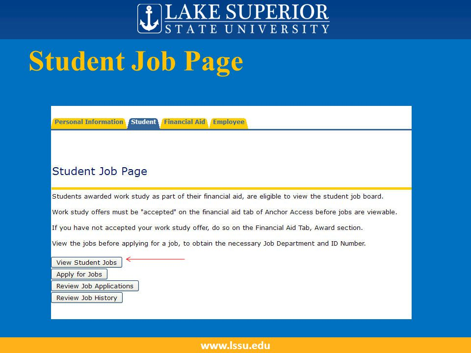 Student Job Page www.lssu.edu