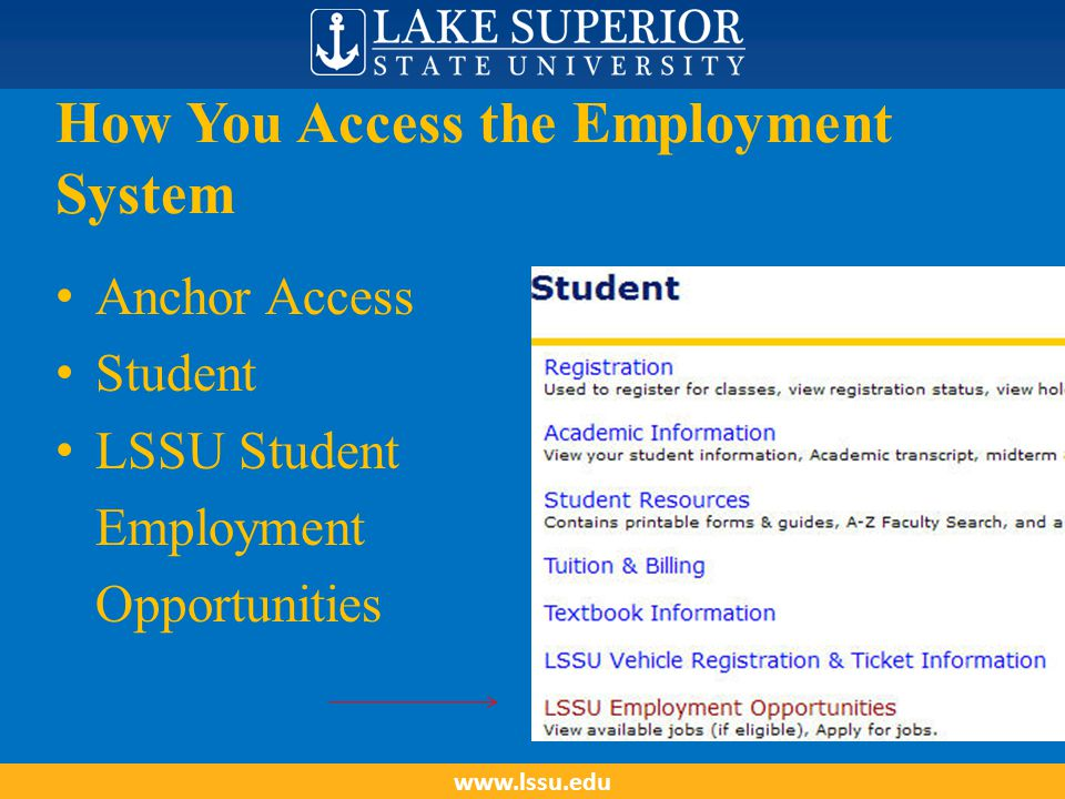 How You Access the Employment System Anchor Access Student LSSU Student Employment Opportunities www.lssu.edu