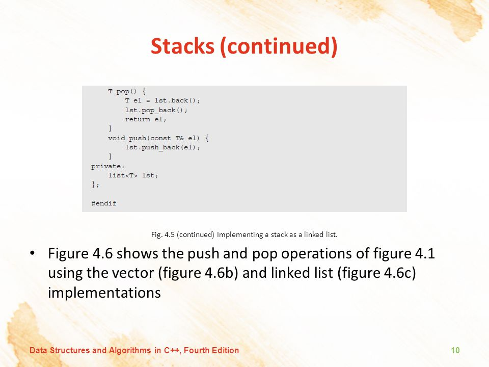 Stacks (continued) Fig.4.5 (continued) Implementing a stack as a linked list.