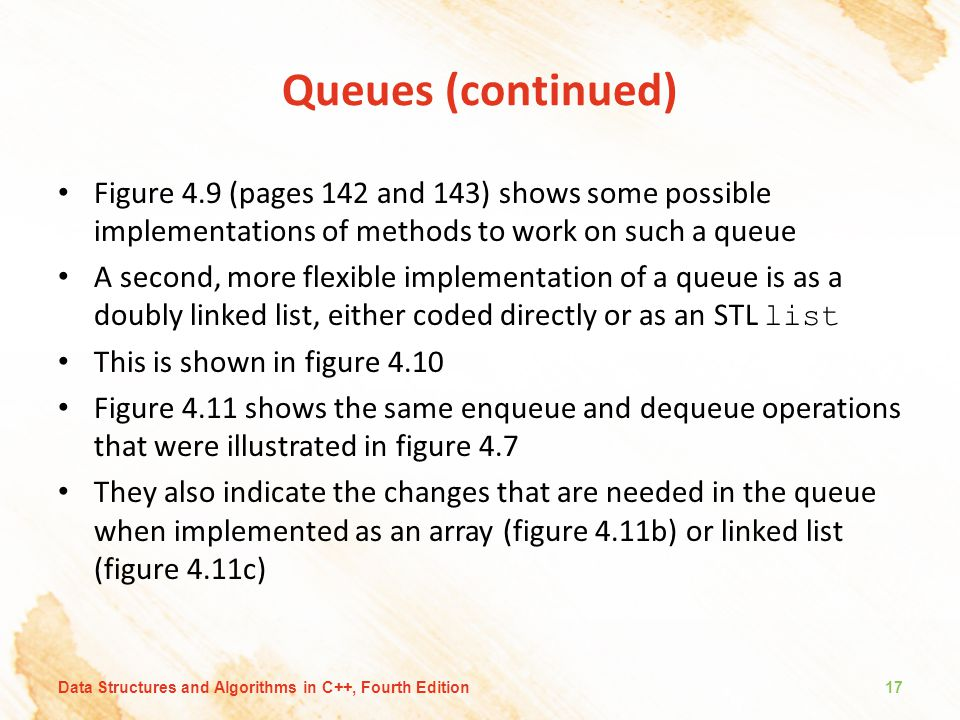 Queues (continued) Figure 4.9 (pages 142 and 143) shows some possible implementations of methods to work on such a queue A second, more flexible implementation of a queue is as a doubly linked list, either coded directly or as an STL list This is shown in figure 4.10 Figure 4.11 shows the same enqueue and dequeue operations that were illustrated in figure 4.7 They also indicate the changes that are needed in the queue when implemented as an array (figure 4.11b) or linked list (figure 4.11c) Data Structures and Algorithms in C++, Fourth Edition17