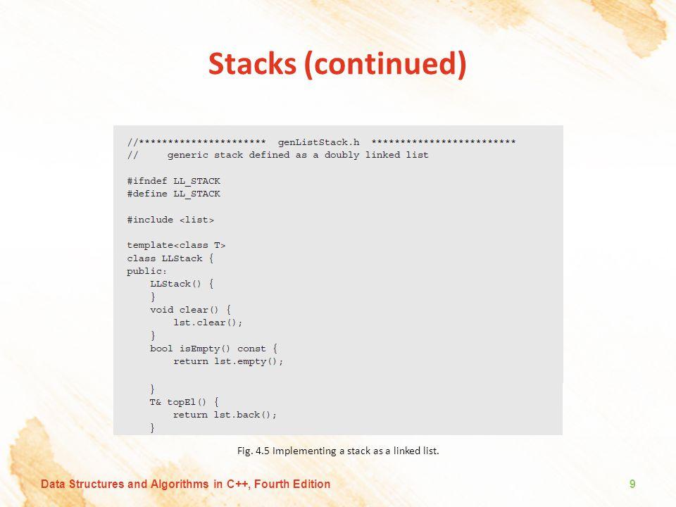 Stacks (continued) Fig.4.5 Implementing a stack as a linked list.