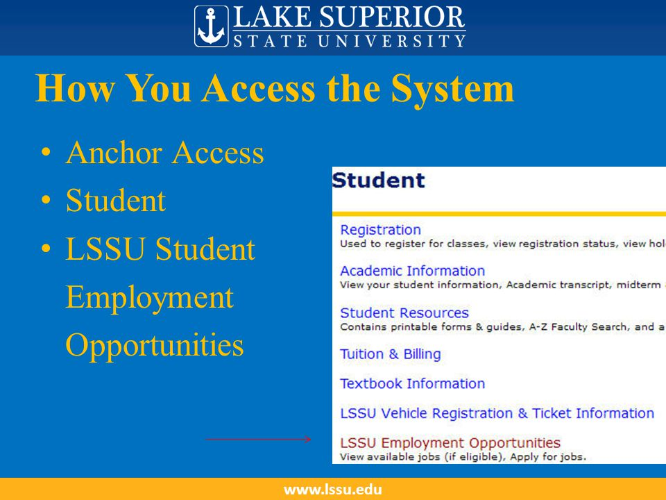 How You Access the System Anchor Access Student LSSU Student Employment Opportunities www.lssu.edu
