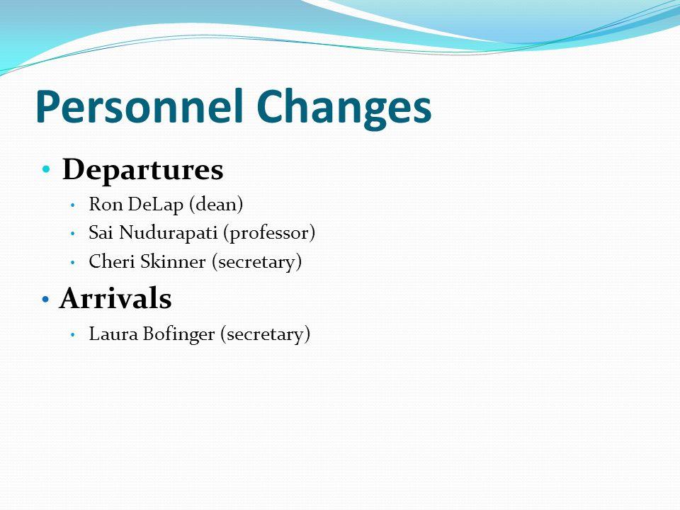 Personnel Changes Departures Ron DeLap (dean) Sai Nudurapati (professor) Cheri Skinner (secretary) Arrivals Laura Bofinger (secretary)