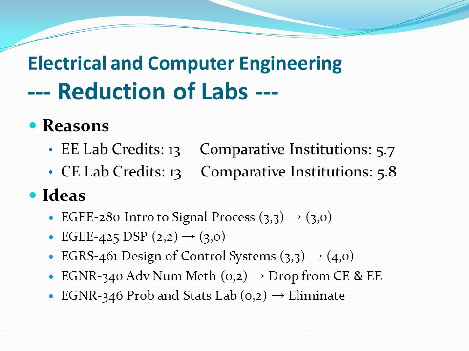 Electrical and Computer Engineering --- Reduction of Labs --- Reasons EE Lab Credits: 13 Comparative Institutions: 5.7 CE Lab Credits: 13 Comparative Institutions: 5.8 Ideas EGEE-280 Intro to Signal Process (3,3) → (3,0) EGEE-425 DSP (2,2) → (3,0) EGRS-461 Design of Control Systems (3,3) → (4,0) EGNR-340 Adv Num Meth (0,2) → Drop from CE & EE EGNR-346 Prob and Stats Lab (0,2) → Eliminate