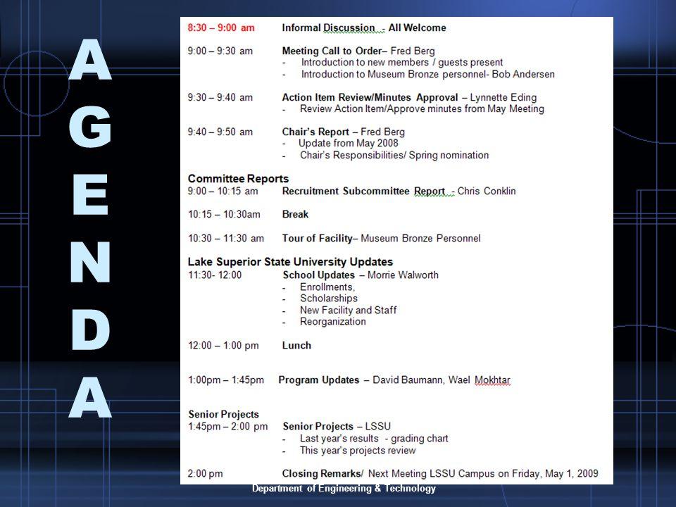 Lake Superior State University Department of Engineering & Technology AGENDAAGENDA