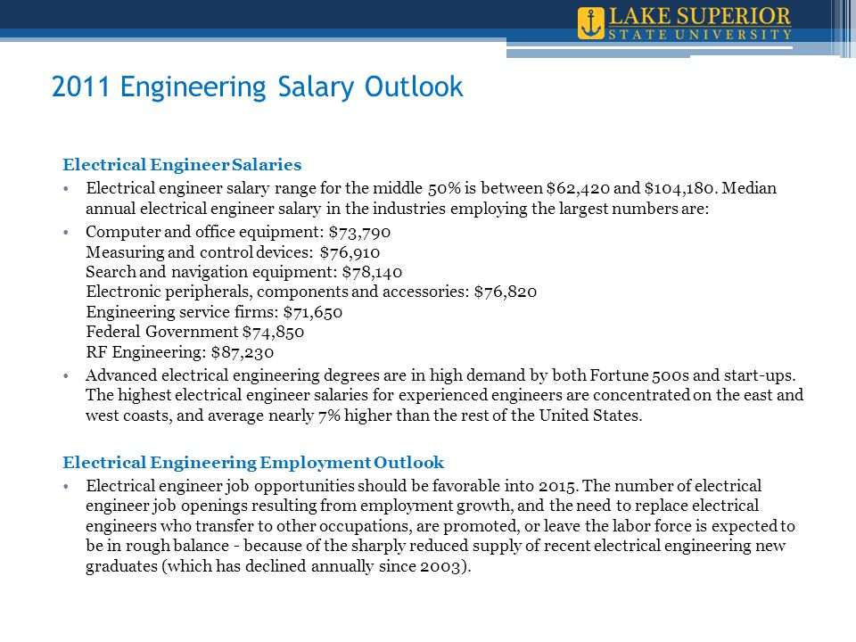 2011 Engineering Salary Outlook Electrical Engineer Salaries Electrical engineer salary range for the middle 50% is between $62,420 and $104,180.