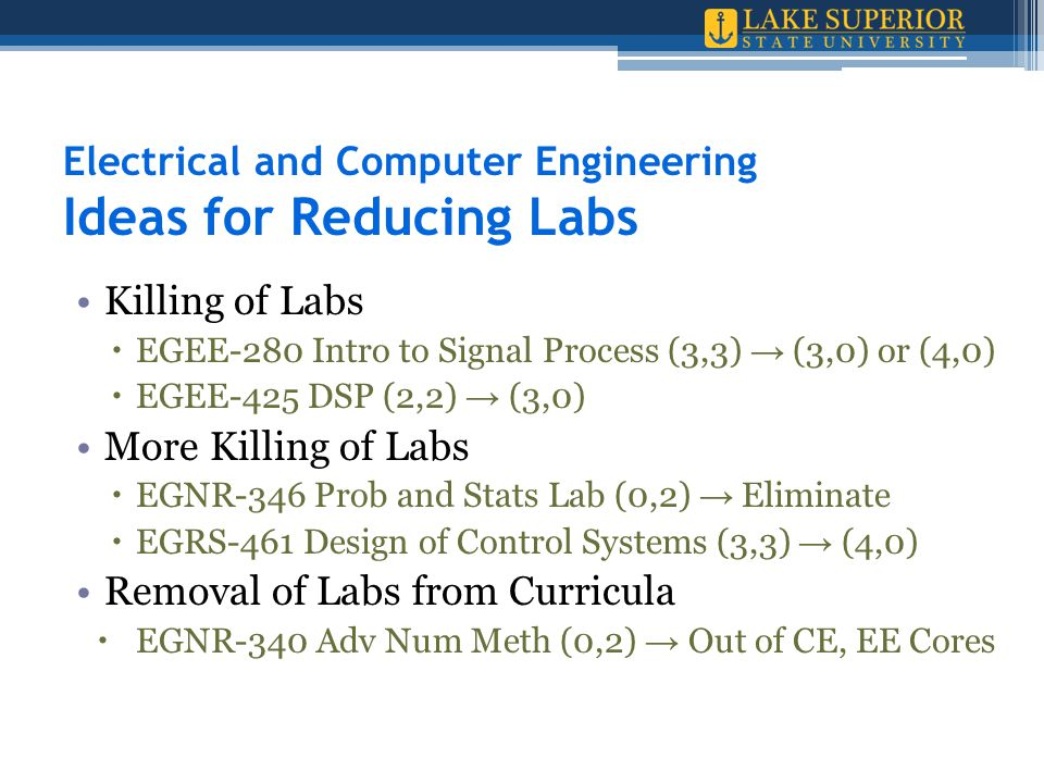 Electrical and Computer Engineering Ideas for Reducing Labs Killing of Labs  EGEE-280 Intro to Signal Process (3,3) → (3,0) or (4,0)  EGEE-425 DSP (2,2) → (3,0) More Killing of Labs  EGNR-346 Prob and Stats Lab (0,2) → Eliminate  EGRS-461 Design of Control Systems (3,3) → (4,0) Removal of Labs from Curricula  EGNR-340 Adv Num Meth (0,2) → Out of CE, EE Cores