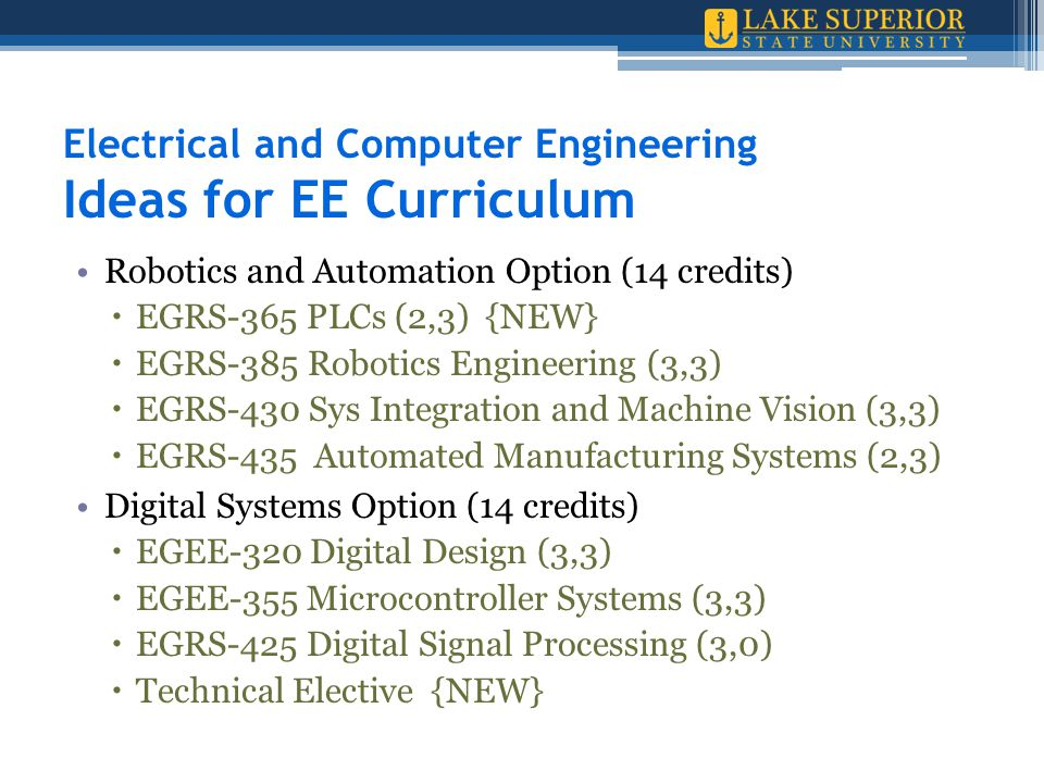 Electrical and Computer Engineering Ideas for EE Curriculum Robotics and Automation Option (14 credits)  EGRS-365 PLCs (2,3) {NEW}  EGRS-385 Robotics Engineering (3,3)  EGRS-430 Sys Integration and Machine Vision (3,3)  EGRS-435 Automated Manufacturing Systems (2,3) Digital Systems Option (14 credits)  EGEE-320 Digital Design (3,3)  EGEE-355 Microcontroller Systems (3,3)  EGRS-425 Digital Signal Processing (3,0)  Technical Elective {NEW}