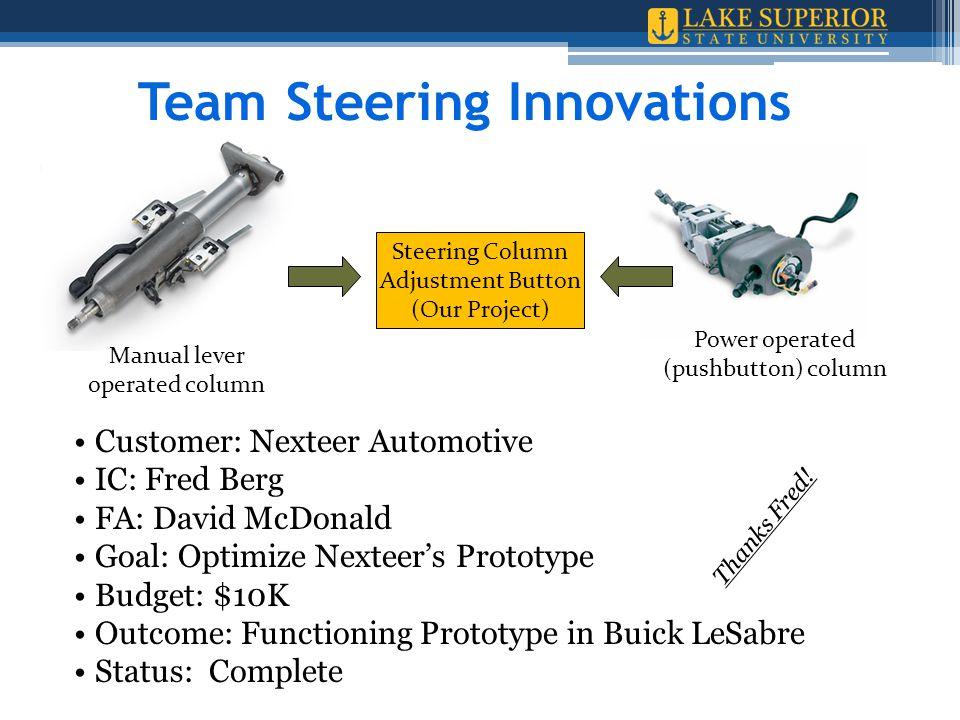 Customer: Nexteer Automotive IC: Fred Berg FA: David McDonald Goal: Optimize Nexteer's Prototype Budget: $10K Outcome: Functioning Prototype in Buick