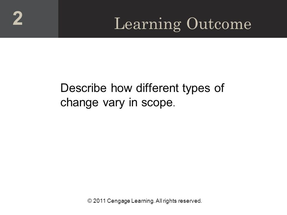 © 2011 Cengage Learning.All rights reserved. Describe how different types of change vary in scope.