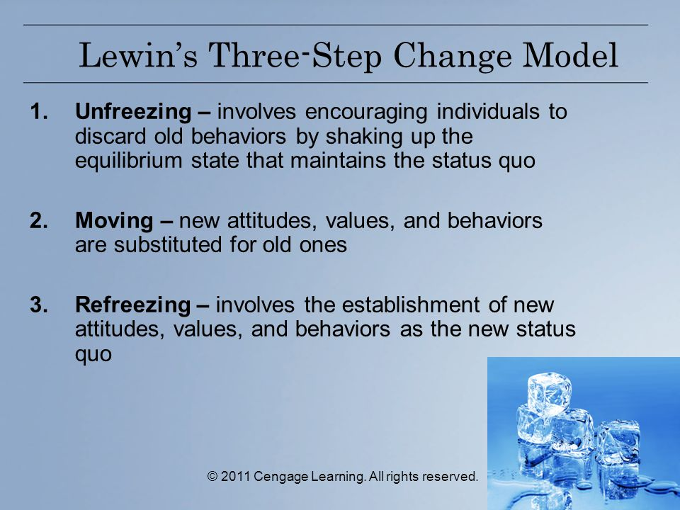 © 2011 Cengage Learning. All rights reserved. Lewin's Three-Step Change Model 1.Unfreezing – involves encouraging individuals to discard old behaviors