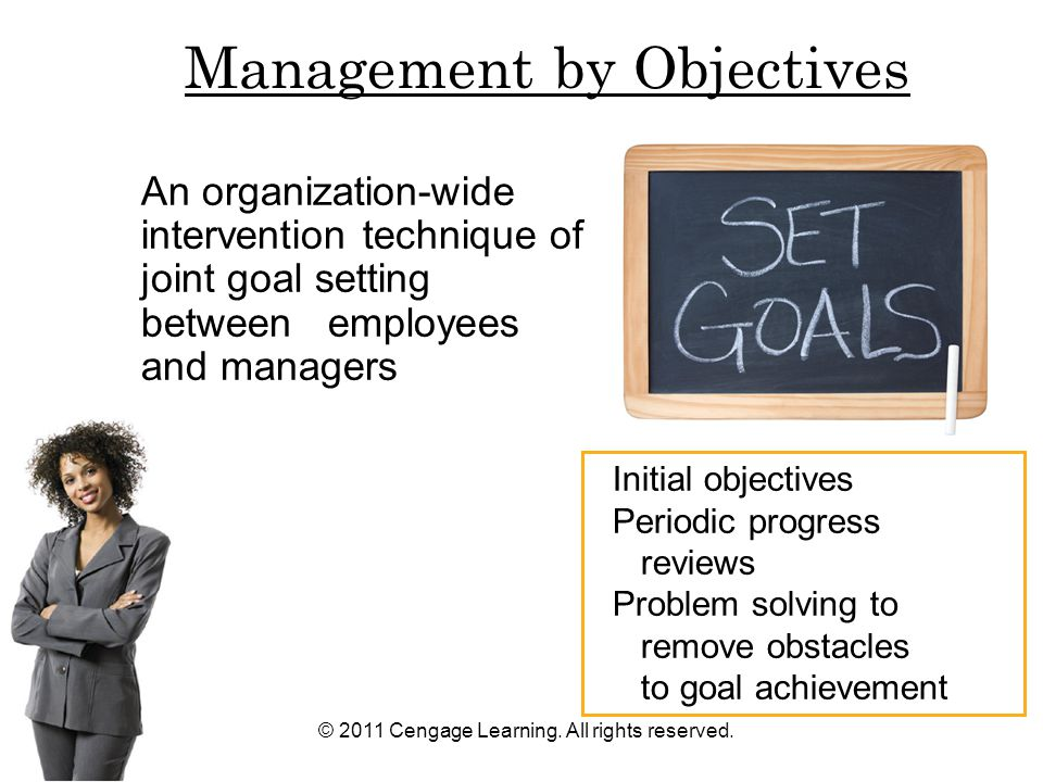 © 2011 Cengage Learning. All rights reserved. An organization-wide intervention technique of joint goal setting between employees and managers Initial