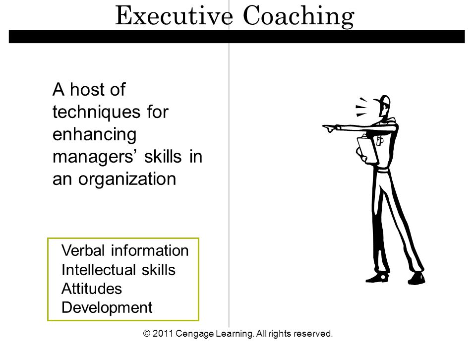 © 2011 Cengage Learning. All rights reserved. A host of techniques for enhancing managers' skills in an organization Verbal information Intellectual s