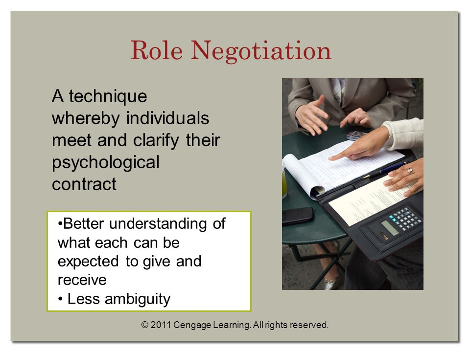 © 2011 Cengage Learning. All rights reserved. A technique whereby individuals meet and clarify their psychological contract Better understanding of wh