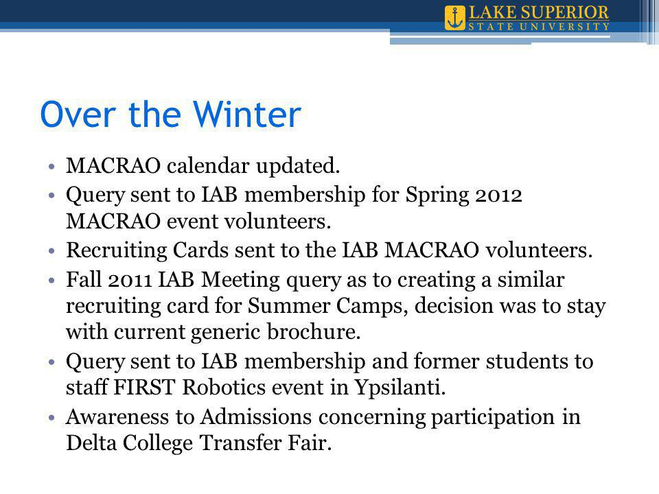 Over the Winter MACRAO calendar updated.