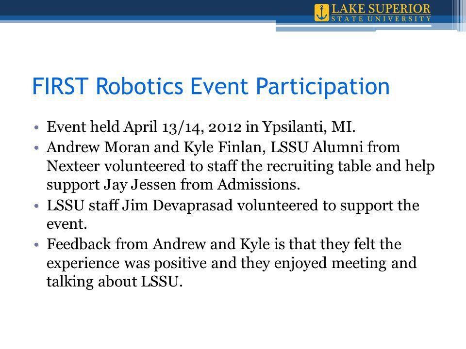 FIRST Robotics Event Participation Event held April 13/14, 2012 in Ypsilanti, MI.