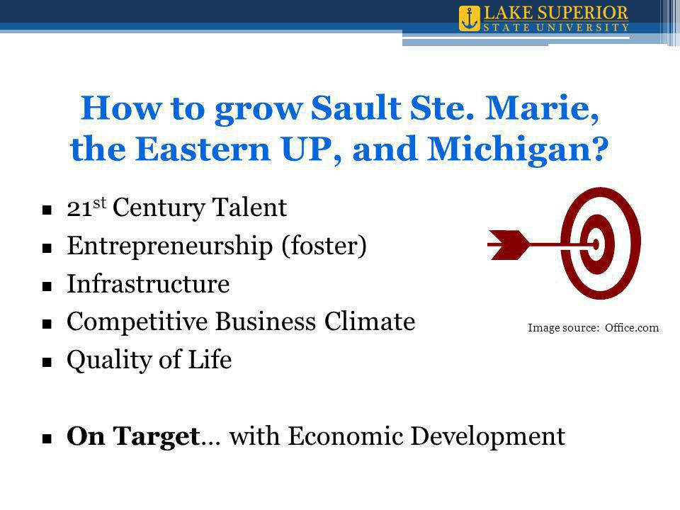 21 st Century Talent Entrepreneurship (foster) Infrastructure Competitive Business Climate Quality of Life On Target… with Economic Development How to grow Sault Ste.