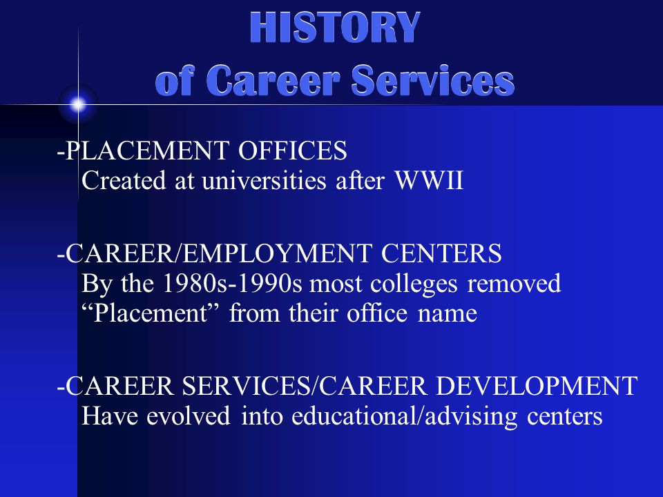 HISTORY of Career Services -PLACEMENT OFFICES Created at universities after WWII -CAREER/EMPLOYMENT CENTERS By the 1980s-1990s most colleges removed Placement from their office name -CAREER SERVICES/CAREER DEVELOPMENT Have evolved into educational/advising centers