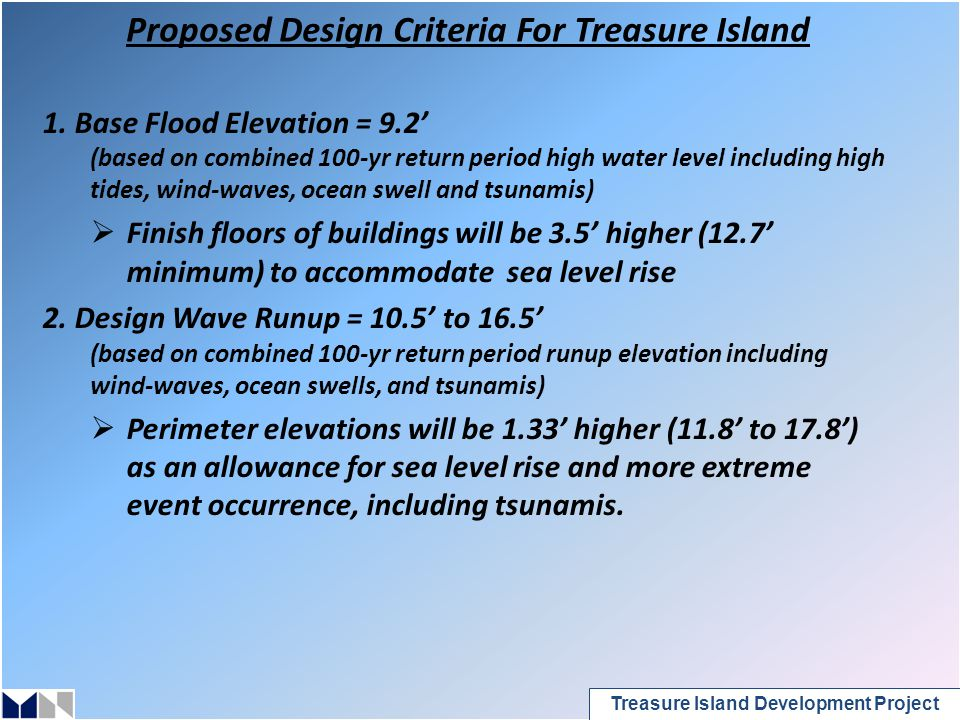 Treasure Island Development Project Proposed Design Criteria For Treasure Island 1.