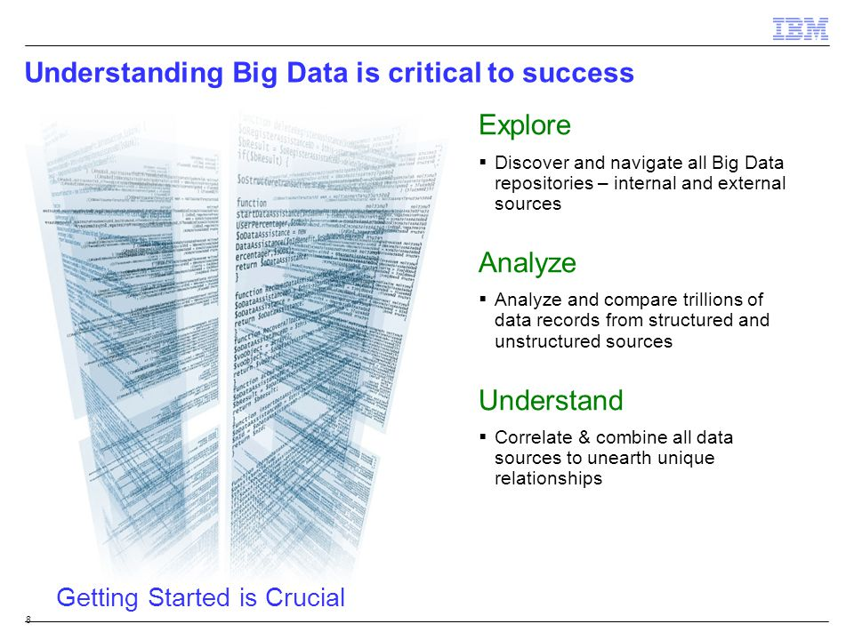 Understanding Big Data is critical to success 8 Explore  Discover and navigate all Big Data repositories – internal and external sources Analyze  An