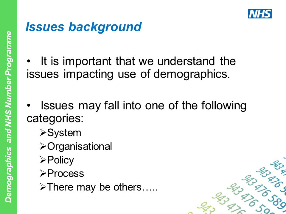 Demographics and NHS Number Programme Issues background It is important that we understand the issues impacting use of demographics. Issues may fall i