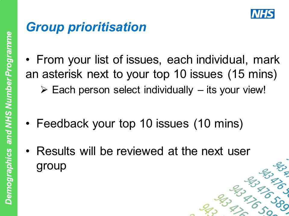 Demographics and NHS Number Programme Group prioritisation From your list of issues, each individual, mark an asterisk next to your top 10 issues (15