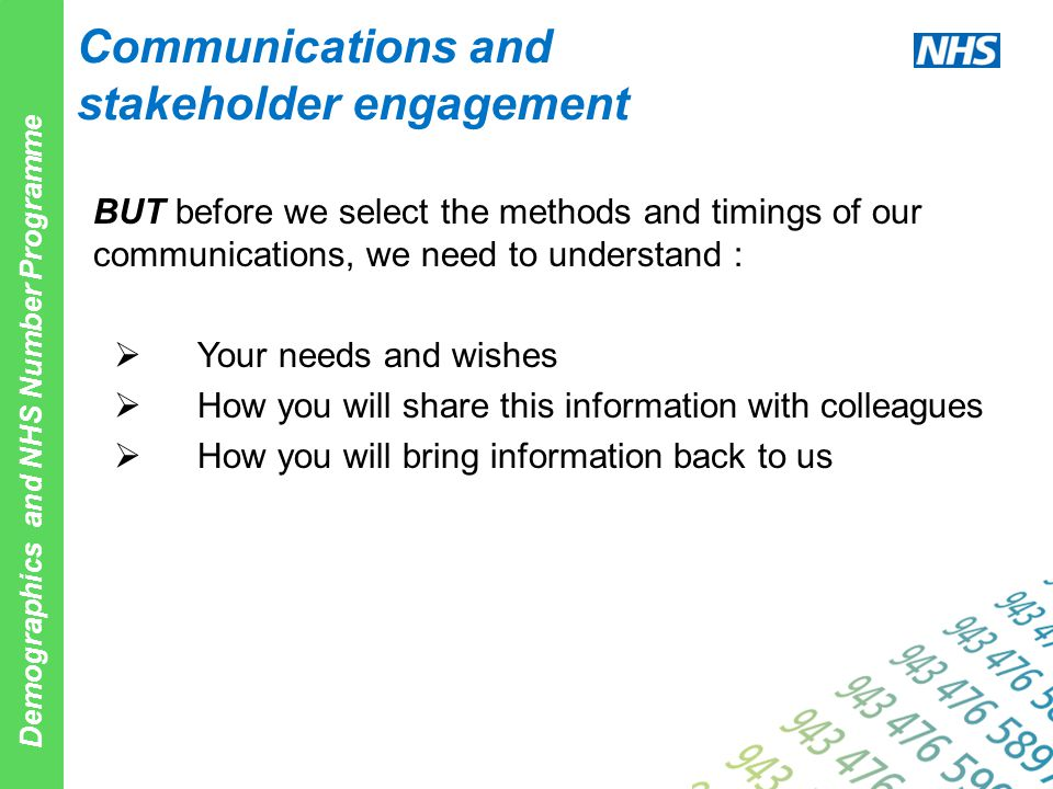 Demographics and NHS Number Programme Communications and stakeholder engagement BUT before we select the methods and timings of our communications, we