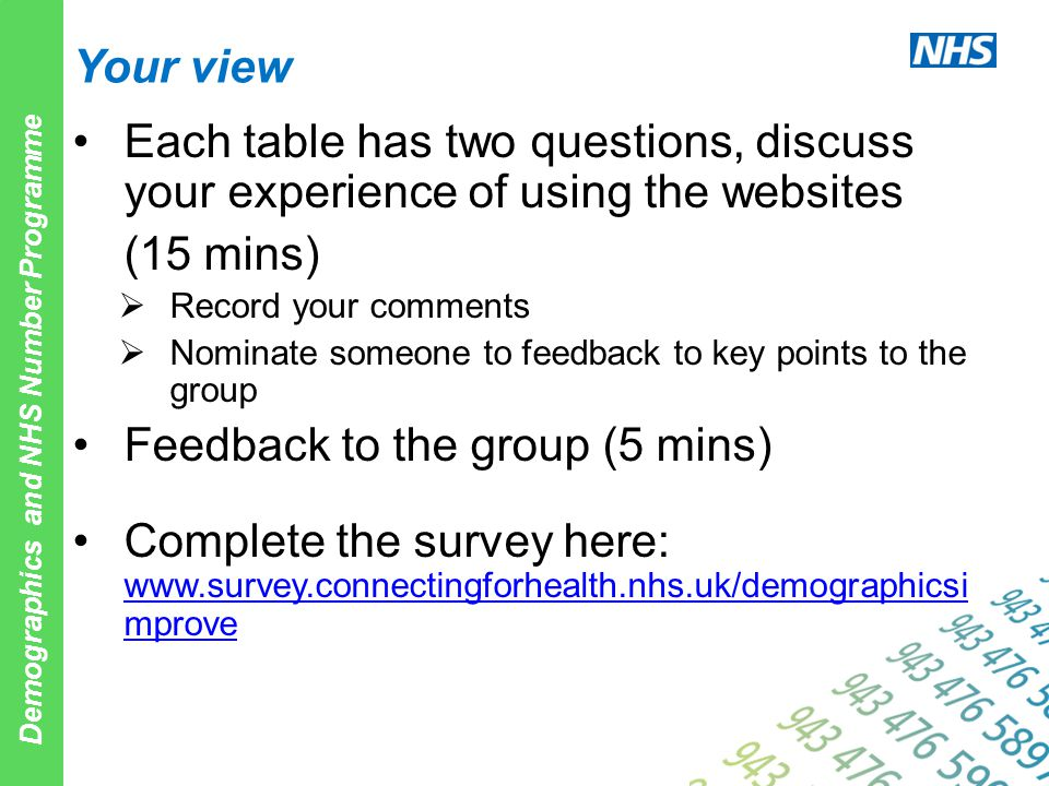 Demographics and NHS Number Programme Your view Each table has two questions, discuss your experience of using the websites (15 mins)  Record your co