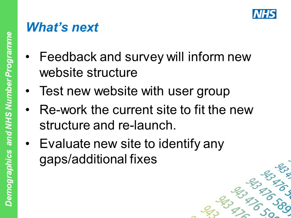 Demographics and NHS Number Programme What's next Feedback and survey will inform new website structure Test new website with user group Re-work the c
