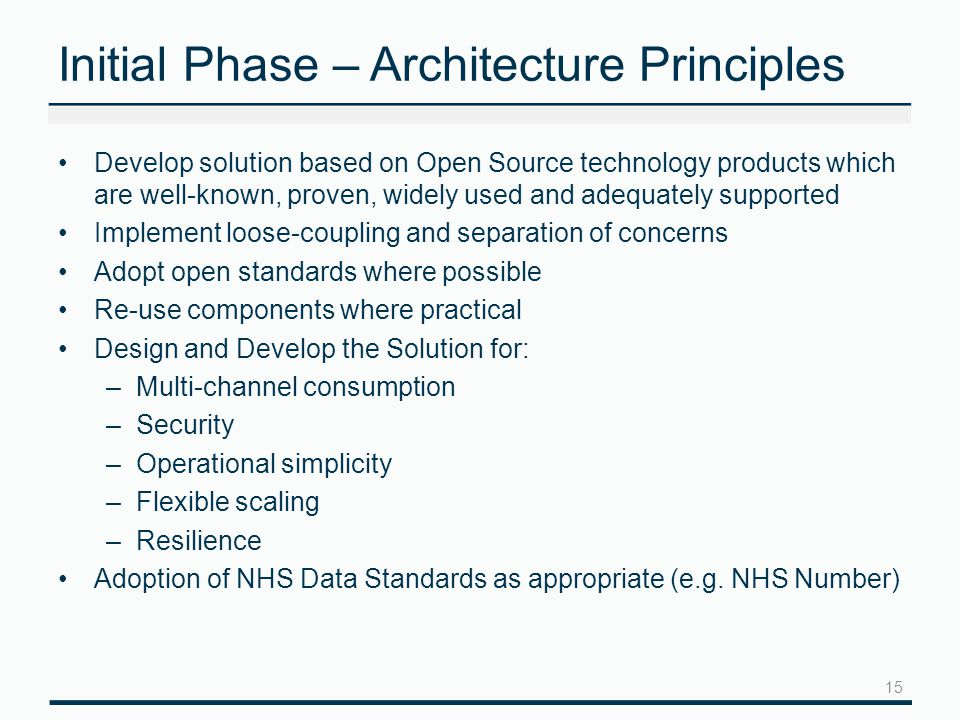 Initial Phase – Architecture Principles Develop solution based on Open Source technology products which are well-known, proven, widely used and adequately supported Implement loose-coupling and separation of concerns Adopt open standards where possible Re-use components where practical Design and Develop the Solution for: –Multi-channel consumption –Security –Operational simplicity –Flexible scaling –Resilience Adoption of NHS Data Standards as appropriate (e.g.
