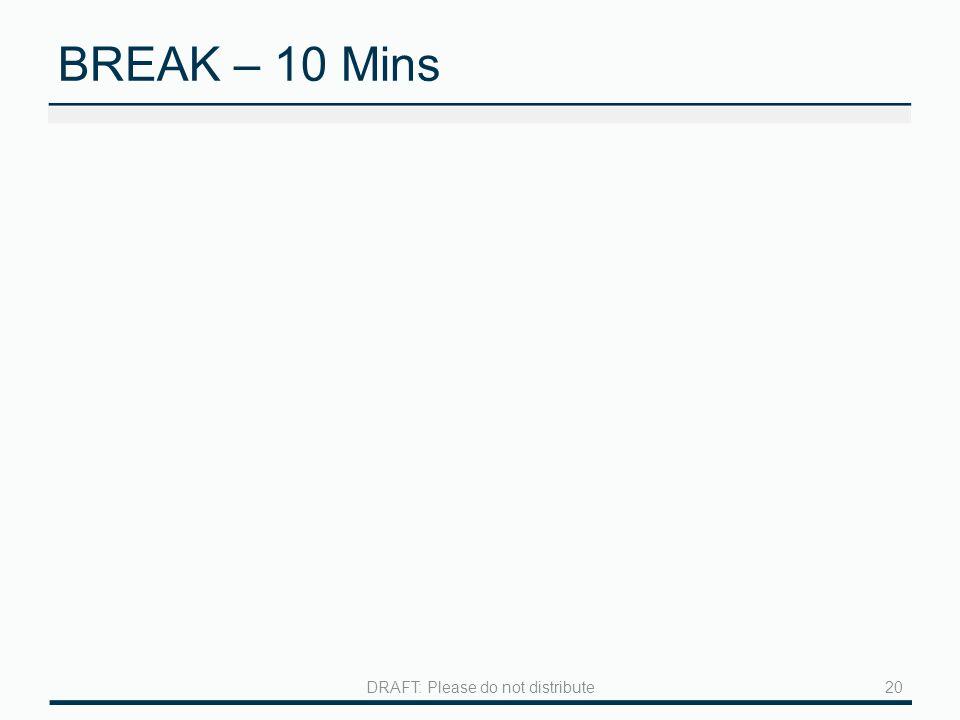 BREAK – 10 Mins 20DRAFT: Please do not distribute